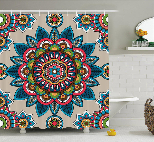 Colorful Floral Hippie Mandala Boho Shower Curtain-GoGetGlam