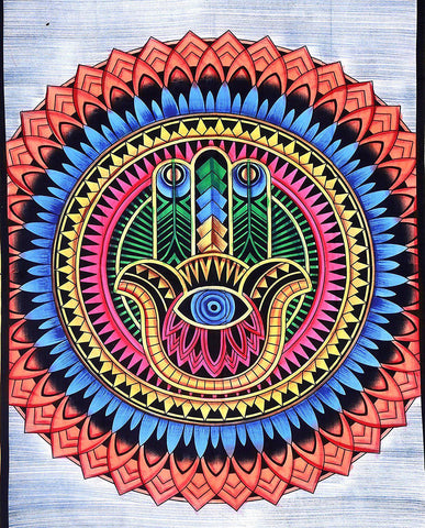 Psychedelic HAMSA Bohemian Fabric Tapestry-GoGetGlam