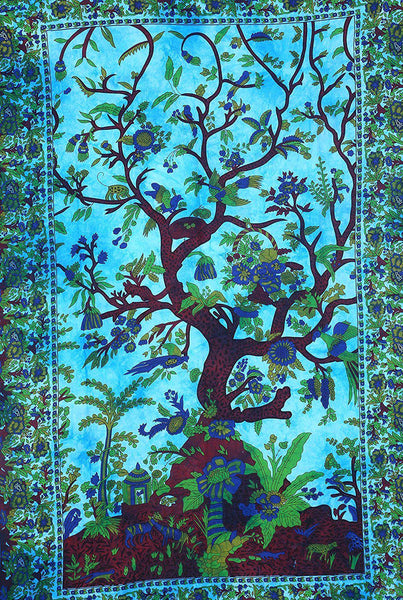 Blue Tree of Paradise Bohemian Fabric Tapestry-GoGetGlam