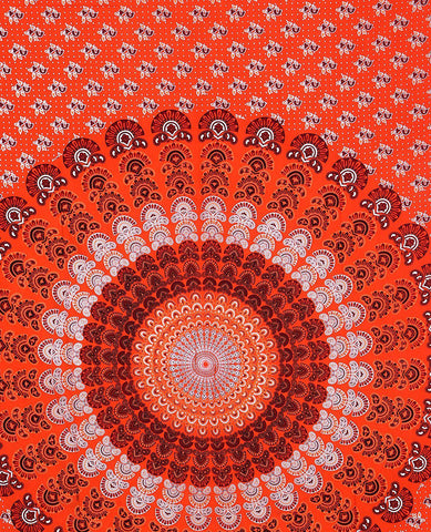 Siarri Orange Bohemian Fabric Tapestry-GoGetGlam