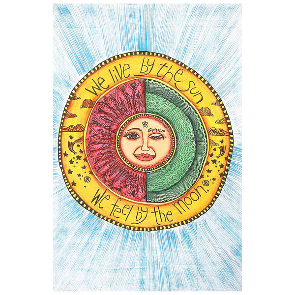 We Live By The Sun Feel By The Moon Tapestry - Boho Bohemian Decor