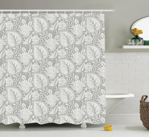 Grey Botanical Shower Curtain-GoGetGlam
