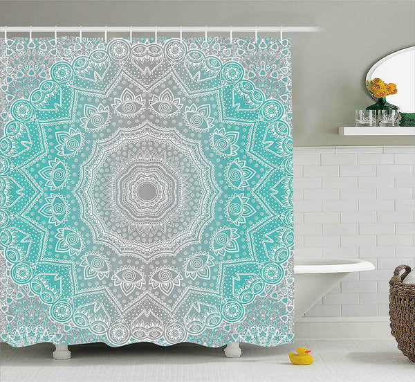 Grey Turquoise Mandala Boho Shower Curtain-GoGetGlam