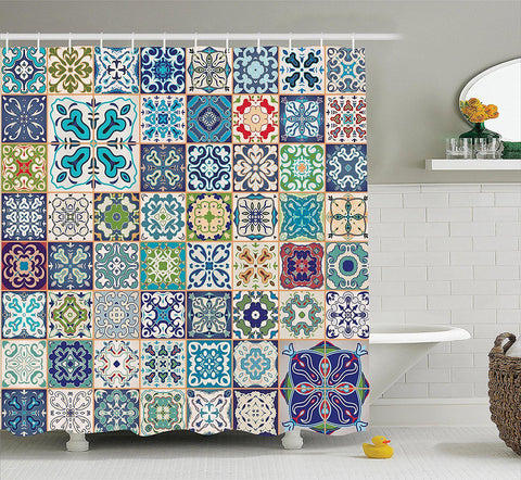 Mosaic Tiles Shower Curtain-GoGetGlam