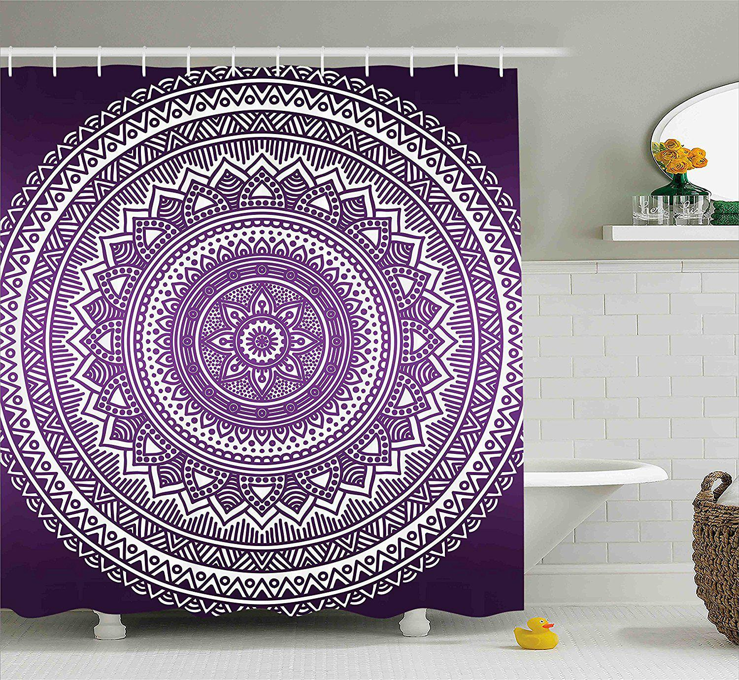 Boho Purple Mandala Shower Curtain GoGetGlam
