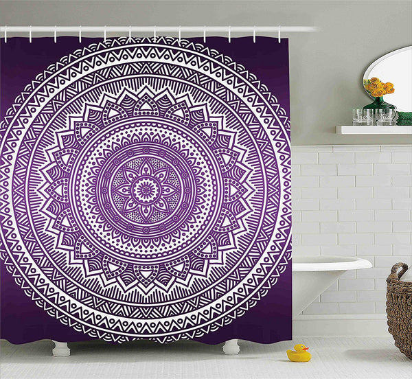 Boho Purple Mandala Shower Curtain-GoGetGlam