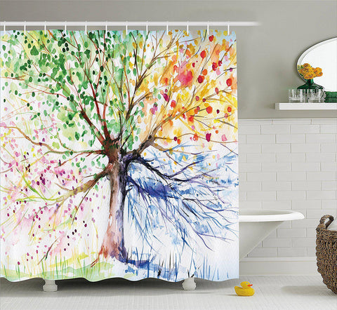 Seasons Tree of Life Boho Shower Curtain-GoGetGlam