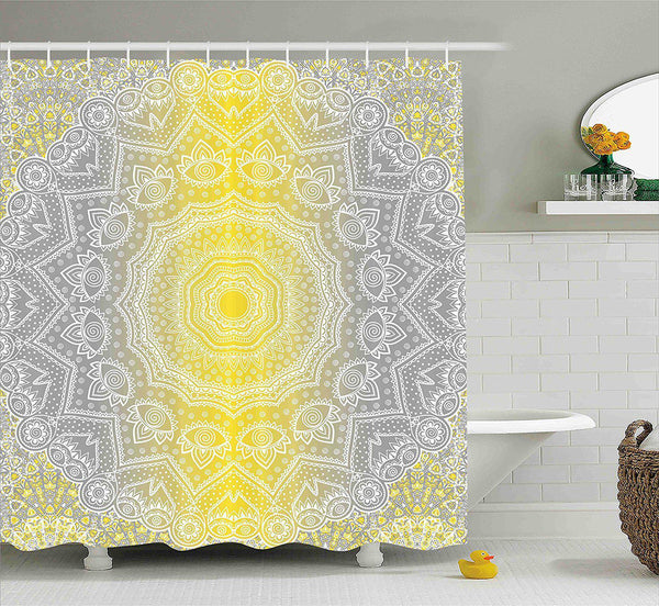 Yellow Grey Mandala Boho Shower Curtain-GoGetGlam