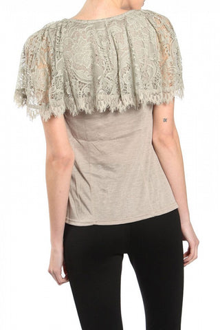 Lillith Lace Short Sleeve Boho Top-GoGetGlam