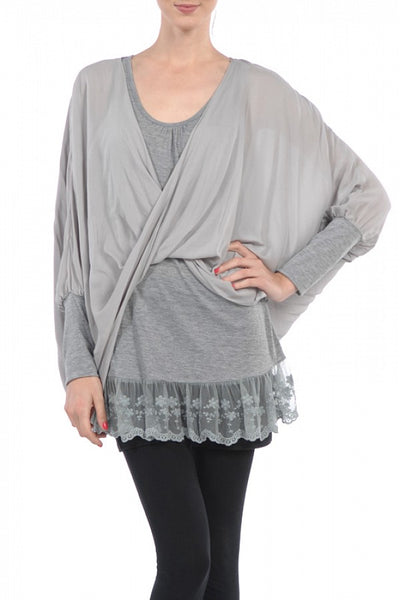 Faux Wrap Top with Underlayer-GoGetGlam