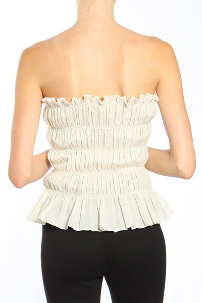Boho Ruched Cotton Tube Top-GoGetGlam