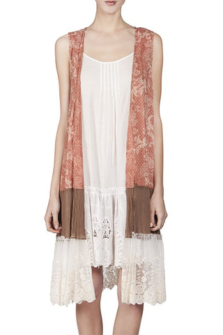Boho Festival Long Lace Panel Vest-GoGetGlam