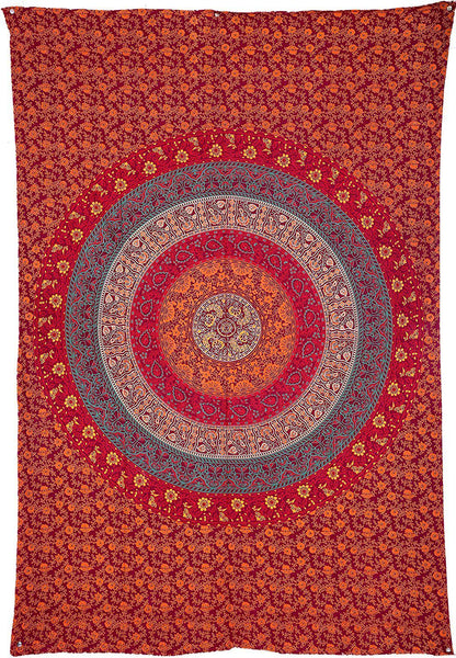 Avie Red Multi Floral Bohemian Fabric Tapestry
