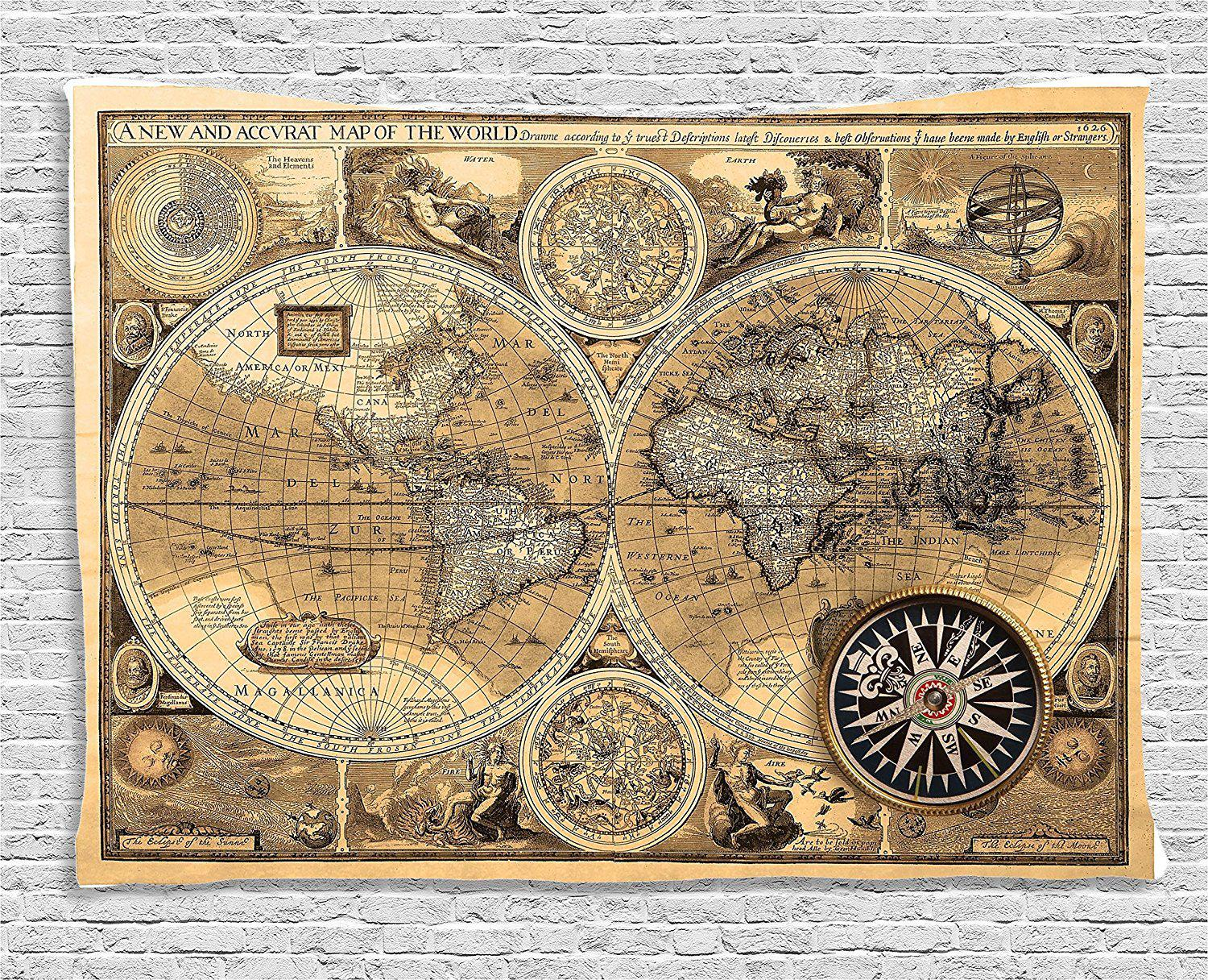 Vintage 1600 historical manuscript map fabric wall tapestry vintage 1600 historical manuscript map fabric wall tapestry gogetglam gumiabroncs Gallery