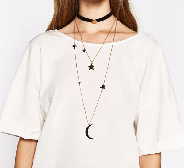 Celestial In Your Orbit Moon Choker Necklace-GoGetGlam