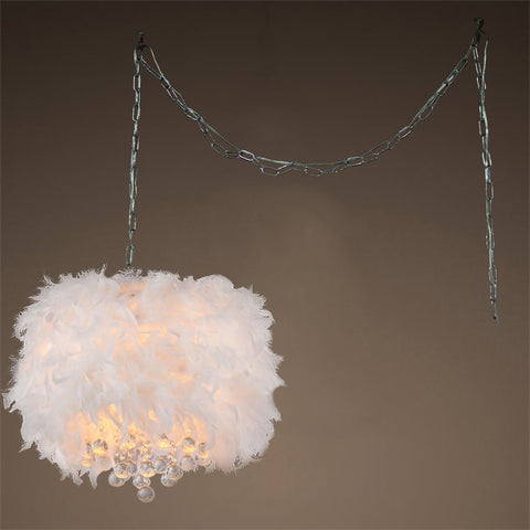 White Feather Swag Pendant Light - Boho Bohemian Decor