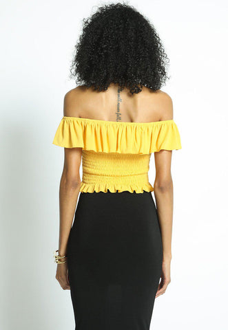Yellow Smocked Off Shoulder Ruffle Top-GoGetGlam