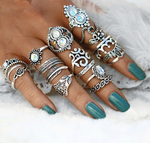 16 PC Ultimate Opal Boho Ring Set - GoGetGlam Boho Style