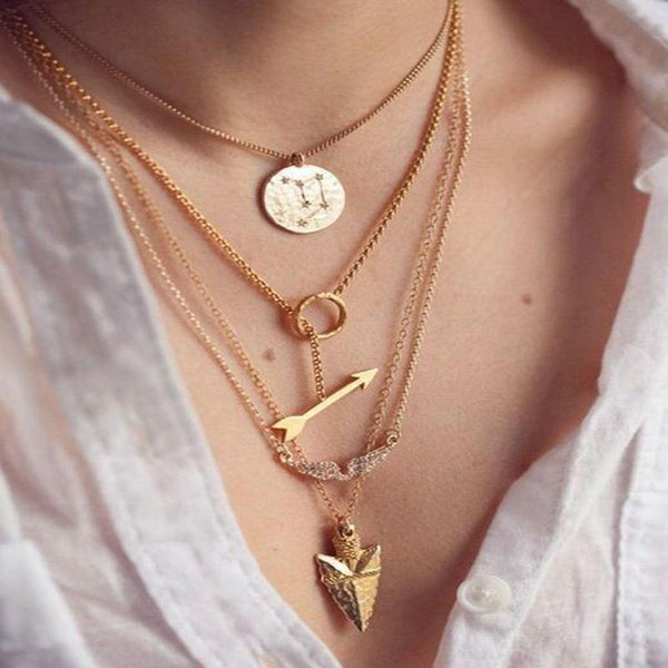 Boho 4-Layered Gold Arrow Necklace-GoGetGlam