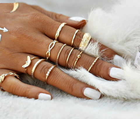 12 PC Dainty Gold Boho Ring Set - GoGetGlam Boho Style