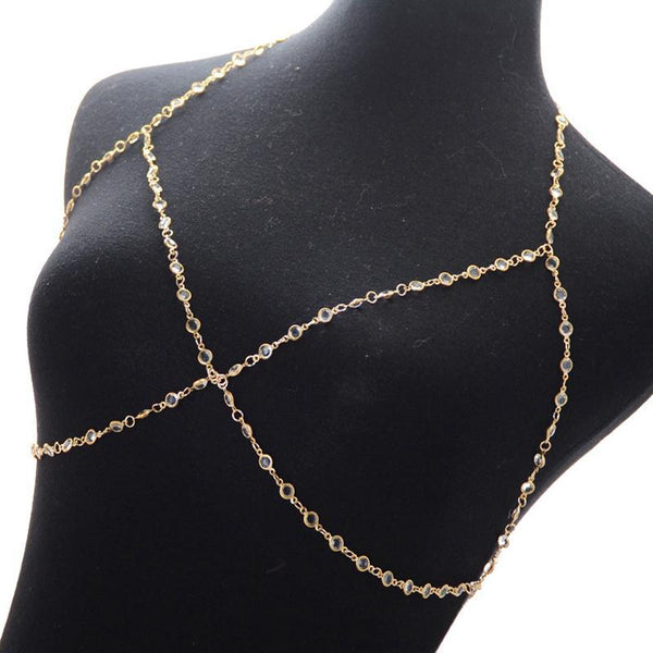 Boho Gold & Crystal Body Chain-GoGetGlam
