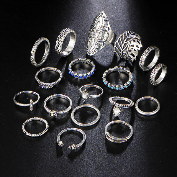 18 PC Ultimate Silver Boho Ring Set - GoGetGlam Boho Style