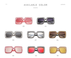 Becca Women Oversized Square Crystal Sunglasses-GoGetGlam