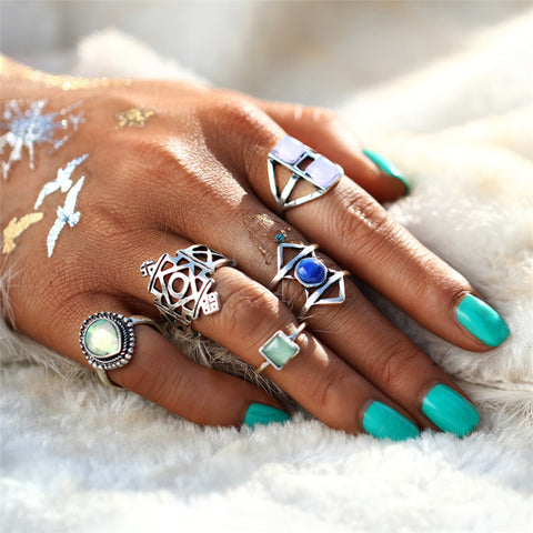 5 PC Seaside Theme Boho Ring Set-GoGetGlam