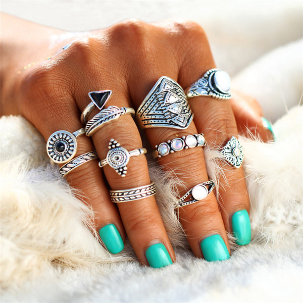 10 PC Karma Circle Boho Ring Set - GoGetGlam Boho Style