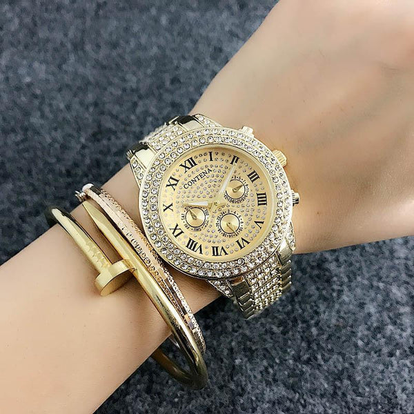 Gold Cubic Zirconia Austrian Crystal Womens Watch-GoGetGlam