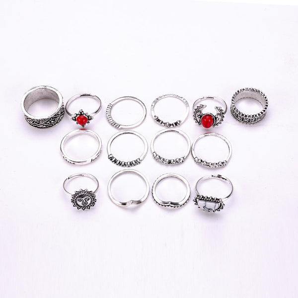 14 PC Boho Silver Lucky Stone Moon Ring Set