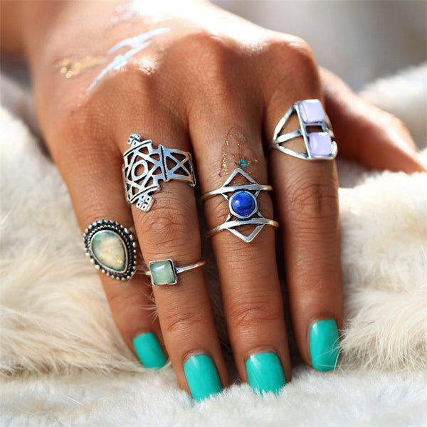 5 PC Seaside Theme Boho Ring Set - GoGetGlam Boho Style
