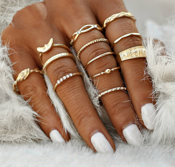 12 PC Dainty Gold Boho Ring Set-GoGetGlam