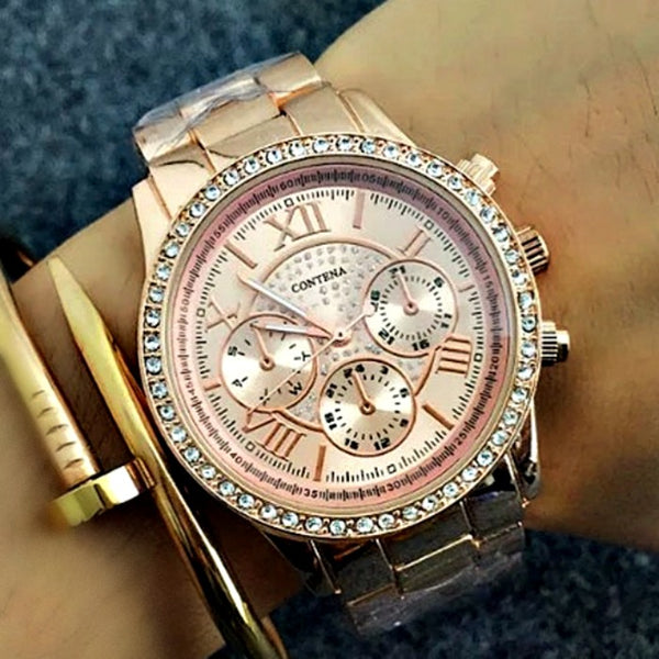 Rose Gold Cubic Zirconia Rhinestone Womens Watch - GoGetGlam Boho Style