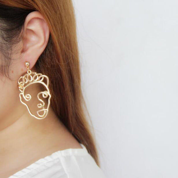 Curly Hair Face Forward Earrings - GoGetGlam Boho Style