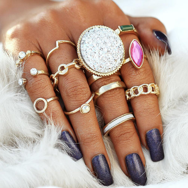 12 PC Silver Multi-Color Boho Ring Set