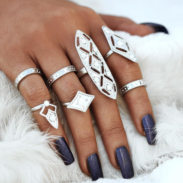 7 PC Silver Opal Boho Ring Set