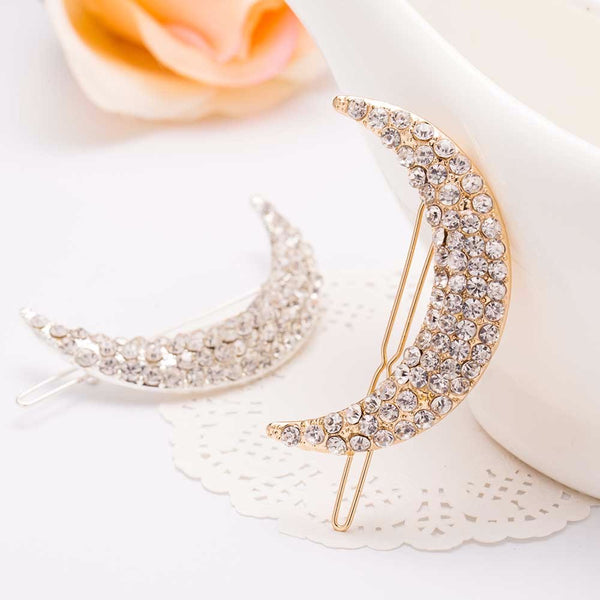 Set of 2 Rhinestone Crescent Moon Barrette Hair Pin - GoGetGlam Boho Style