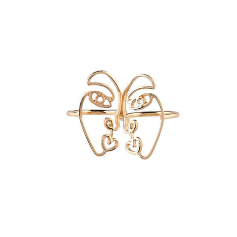 Set of 2 Abstract Face Rings-GoGetGlam
