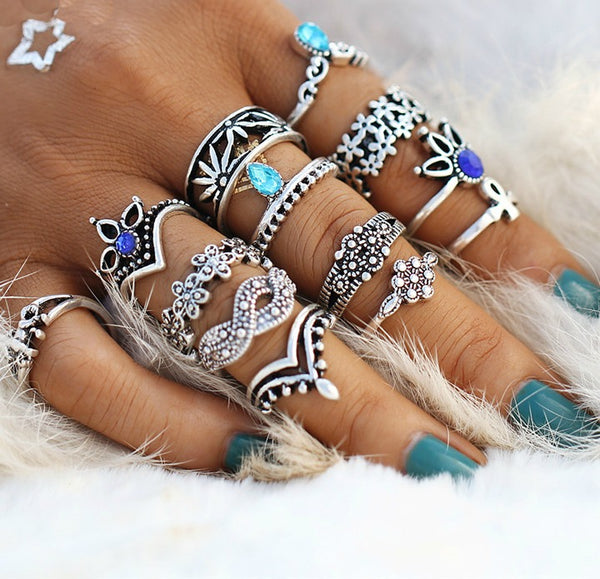 13 PC Flower Power Boho Ring Set-GoGetGlam