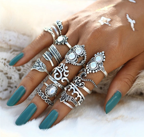 16 PC Ultimate Opal Boho Ring Set