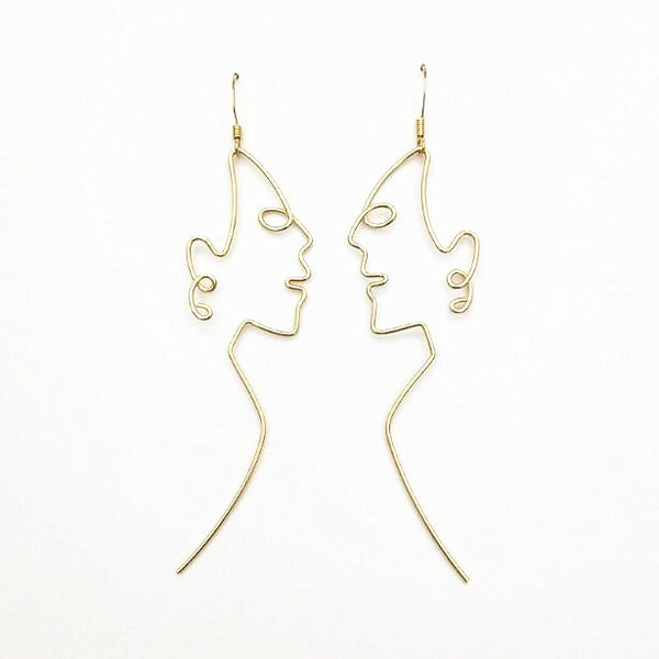 Side Profile Face Shaped Wire Earrings - GoGetGlam Boho Style