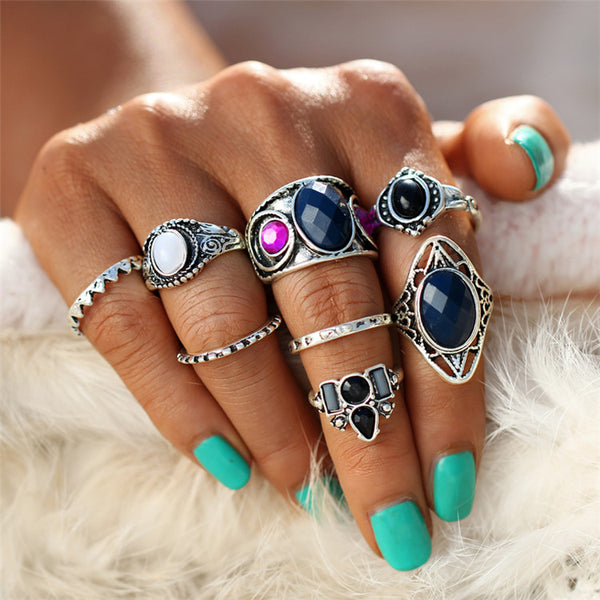 8 PC Silver Turkish Silver Boho Ring Set