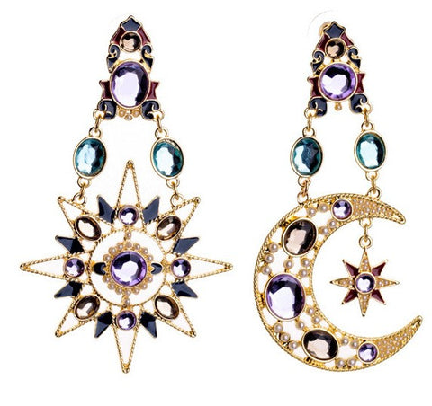 Moon & Stars Chandelier Earrings-GoGetGlam