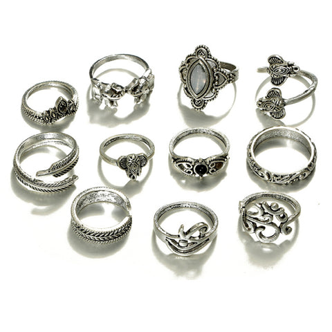 Silver Elephant Parade Boho 11 PC Ring Set - GoGetGlam Boho Style