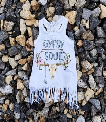 Toddler Girls Boho Gypsy Soul Fringe Top - Boho Bohemian Decor