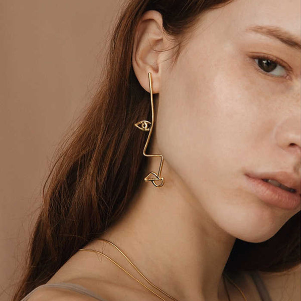 Gold Side Glance Profile Face Earrings - GoGetGlam Boho Style