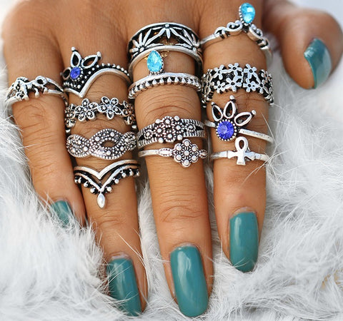 13 PC Flower Power Boho Ring Set - GoGetGlam Boho Style