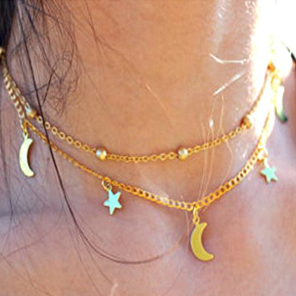Celestial Star Moon Layered Necklace-GoGetGlam