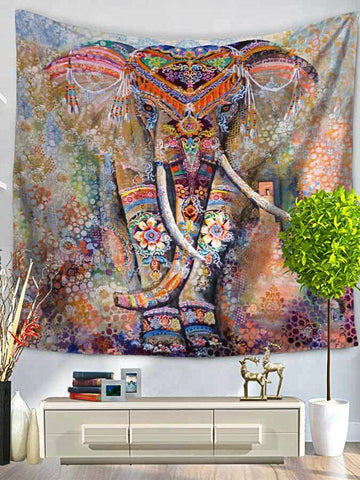 Tribal Watercolor Collage Boho Elephant Wall Fabric Tapestry - GoGetGlam Boho Style